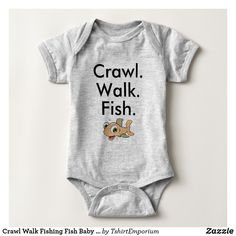 Crawl Walk Fishing Fish Baby Bodysuit