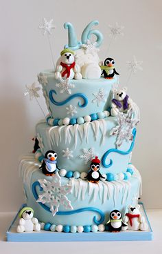 The Couture Cakery • Designer Cakes, Cupcakes, Dessert Table Designs in Central Pennsylvania: Polar Bear & Penguins Sweet 16 Cake