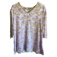 Silk beaded Shirt Dress blouse womens vintage light pink lavender rhinestone v-neck Odeon indian regal sparkle floral detailed gold silver by VELVETMETALVINTAGE on Etsy