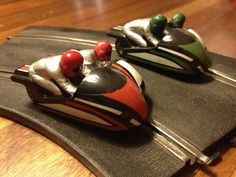 Motorbike Sidecar red & Green 5 & 7 none GB Scalextric Afx Slot Cars, Slot Car Racing, Sidecar, Red Green, Memories, Dreams, Cool Stuff, School, Vintage Posters