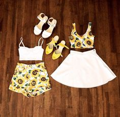 American Apparel sunflower prints: OMG I want these outfits so bad