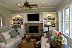 Family Room Tv Above Fireplace Design, Pictures, Remodel, Decor and Ideas Wall Units With Fireplace, Built In Around Fireplace, Tv Over Fireplace, Fireplace Built Ins, Fireplace Design, Brick Fireplace, Fireplace Shelves, Fireplace Ideas, Fireplace Gallery