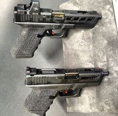 Custom Glock 17 and Glock 26 these are Purdy cool! Custom Glock, Custom Guns, Rifles, Glock Guns, Fire Powers, Home Defense, Cool Guns, Guns And Ammo, Tactical Gear