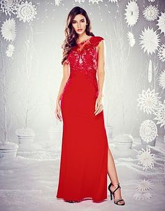 Womens scarlet lace ruched maxi dress from Lipsy - £75 at  ClothingByColour.com Pizzo e445f269a0d