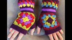 Mittens Crochet fingerless gloves Granny squares mittens Finger-less Gloves Multicolor mittens Hand warmers Crochet mittens KALEIDOSCOPE Gloves Gloves Crochet Granny Squares by YarnAndBeadsDesign Motifs Granny Square, Granny Square Crochet Pattern, Crochet Stitches Patterns, Crochet Squares, Granny Squares, Fingerless Gloves Crochet Pattern, Fingerless Mittens, Knitted Gloves, Beau Crochet