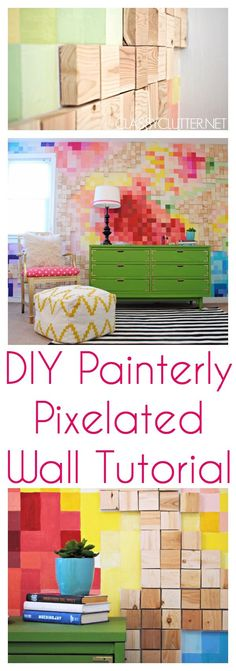 DIY Painterly Pixelated Wall Tutorial that is stunning! This project was well worth it! Click for tutorial