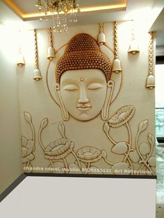 I love Buddha. it somehow manages to bring peace at home. Pooja Room Door Design, Foyer Design, Wall Design, Buddha Wall Art, Buddha Painting, Buddha Decor, Mural Wall Art, Mural Painting, Paintings