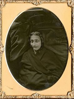 ca. 1850s, [post mortem daguerreotype portrait of woman enveloped in black], Matthew Brady via Be-Hold, from Invaluable Auctions