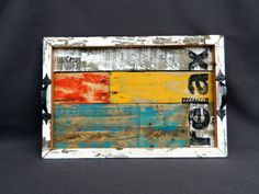 """Great Christmas Gift, Distressed wood Serving Tray,  Distressed reclaimed peeling paint, & Summer porch, and Rustic """"relax"""""""