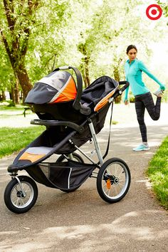 Perfect for jogging or walking, the Eddie Bauer TrailGuide Jogger Travel System will take your adventure to the next level. The air-filled, shock-absorbing, all-terrain tires provide easy maneuverability for you, and a smooth ride for Baby. Plus, this stroller features locking wheels, safety harness, padded seat, reflective strips, two built-in cupholders and more. So much more!