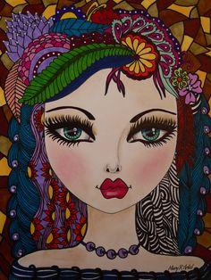 #WHIMSICAL FACE #BIG EYES ART #MIXED MEDIA ART https://www.facebook.com/MARY.ARTIST.741