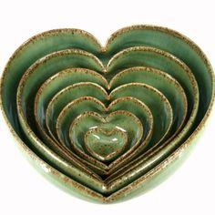 7 Piece Nesting Heart Dish Set  6 inches by JDWolfePottery on Etsy