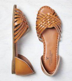 Tan AEO Huarche Peep Toe Flat