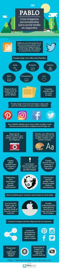 Hola: Una infografía sobre Pablo: herramienta para crear contenidos visuales para tus redes sociales. Vía Un saludo