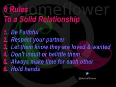 Snags, Tags & Pressies :: @Homeflower :: 6_Rules_To_A_Solid_Relationship Respect Yourself, Make Time, Holding Hands, Hold On, Faith, Relationship, Let It Be, Tags, Memes