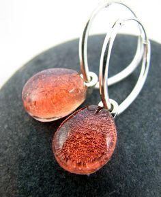 Teardrop Earrings Peach Coral  by GlassElements, $38.00