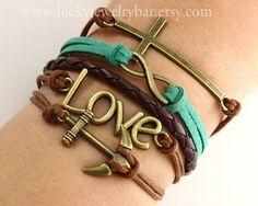 Infinity Bracelet, Cross Bracelet, Anchor Bracelet, Love Bracelet, God's blessing bracelet  5-02