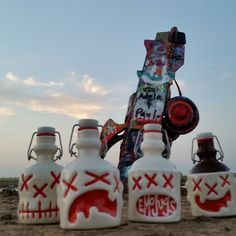 Yorick, Bullock, Otto, and Burlon visited the Cadillac Ranch just outside of Amarillo, TX at sunset.