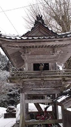 Japanese temple with snow(noto peninsula) Japanese Temple, Vintage Japanese, Buddhism, Worship, Gazebo, Tower, Construction, Outdoor Structures, Snow