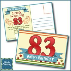 Digital Milestone Birthday Postcard– Someone you know is having a milestone birthday! Send this postcard announcement to let everyone know of the upcoming milestone celebration! This standard-size postcard has areas for you to add a stamp and address, and the required area for postal markings and barcode.