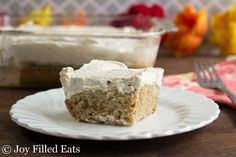 Vanilla Latte Poke Cake - Low Carb, Grain & Sugar Free, THM S - Joy Filled Eats