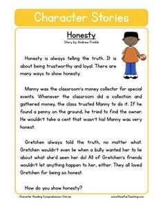 This Reading Comprehension Worksheet - Honesty is for teaching reading comprehension. Use this reading comprehension story to teach reading comprehension. English Stories For Kids, Moral Stories For Kids, Short Stories For Kids, English Story, English Activities For Kids, First Grade Reading Comprehension, Reading Comprehension Worksheets, Reading Fluency, Reading Passages