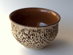 A rustic textured porcelain bowl with mustard by peifferStudios, $37.00