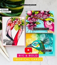 Colorado Craft Company   Cardmaking & Coloring in Graphic Style. Video + Giveaways     Yana Smakula Pen Collection, Copic Sketch Markers, Pretty Pink Posh, Bird Cards, Pen Sets, Card Tutorials, Cardmaking, Giveaways, Colorado