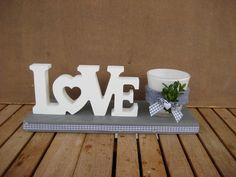 Deko-Objekte - ♥♥ Landhaus Tischdeko LOVE mit Windlicht ♥♥ - ein Designerstück von Sternenglanz-Clemens bei DaWanda