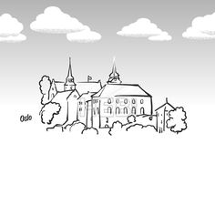 Oslo, Norway famous landmark sketch. Lineart drawing by hand. Greeting card icon with title, vector illustration... ... #travel #stockimage #landmark #drawing #vector #famous #beautiful #place #historic #building #destination #tourist #vacation
