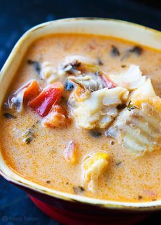 Moqueca – Brazilian Fish Stew ~ Brazilian moqueca, a fish stew made with firm white fish, onions, garlic, bell peppers, tomatoes, cilantro, and coconut milk. ~ SimplyRecipes.com