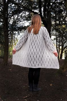 This long cardigan is wonderful to wear. The mohair yarn and the open pattern makes sure the cardigan is airy and light. As it is crocheted top-down, you can easily adjust the length as you prefer.