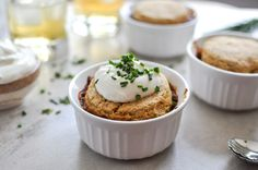 Three Bean Chili Pot Pies with Cornbread Biscuits