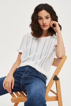 This white stitchy knit tee is perfect for working into smart and casual looks alike. This short-sleeved style has frilly trims and contrast stitch detail in vertical strips. We're wearing ours with our favourite denim pieces. Going Out Shirts, Topshop Outfit, Dress Me Up, Shirt Outfit, Casual Looks, Knitwear, Style Inspiration, T Shirts For Women, How To Wear