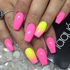 # nails – # yellow # nail # pink - All For Hair Color Trending Pink Summer Nails, Neon Yellow Nails, Bright Pink Nails, Sns Nails Colors, Pink Ombre Nails, Pink Acrylic Nails, Neon Nails, Bright Nails For Summer, Glam Nails