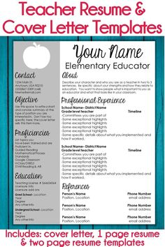 These editable teacher resume templates and cover letter templates are so easy to use and customize! Whether you're looking for your first teaching position, or are a veteran teacher looking for a new job, these templates are perfect for you. Resume Cover Letter Template, Teacher Resume Template, Letter Templates, Resume Templates, Elementary Teacher Resume, Teaching Resume, Teaching Jobs, Elementary Teaching Ideas, Teaching Interview
