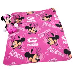 Green Bay Packers Minnie Mouse with Throw Blanket at the Packers Pro Shop http://www.packersproshop.com/sku/2001230034/