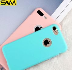 Candy  Soft TPU Silicon phone cases Coque with logo window Accessories For iPhone 5 5S SE 6 6S 7 Plus Fundas luxury Cover