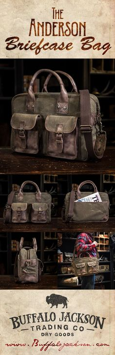 Men's vintage leather and waxed canvas briefcase bag by Buffalo Jackson Trading Co. Designed to withstand the elements of adventure, but with an eye-catching quality any rugged gentleman would be proud to carry. casual briefcase   laptop bag   men's style
