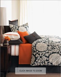 Black And Orange Bedroom finished #diy #wood plank #wall with orange bedding and paired