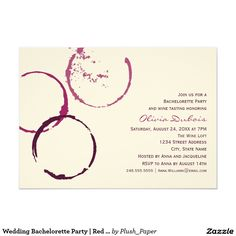Wedding Bachelorette Party | Red Wine Theme Card| Bachelorette party/ weekend invitations! Shop the hundreds of wedding and bachelorette invitation designs on Zazzle, where you can completely customize them! Unique designs made for the unique bride - boho, bohemian, whimsical, rustic, vintage, romantic, fun, lingerie shower, unique, colorful, pastel, custom, glitter, pink, floral, watercolor, tea party, brunch and bubbly, modern, classic, chic - the possibilities are endless!