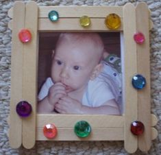 Fun picture frame for preschoolers to make out of popsicle sticks.