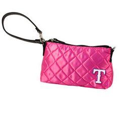 Texas Rangers Pink Quilted Wristlet $19.99 http://www.fansedge.com/Texas-Rangers-Pink-Quilted-Wristlet-_-1592626727_PD.html?social=pinterest_pfid47-30789
