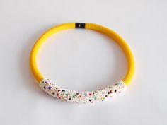 Yellow Rope Necklace Bib necklace Statement Jewelry