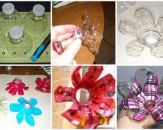 Tops of plastic bottles turned into flowers,painted...great for older kids crafts I think