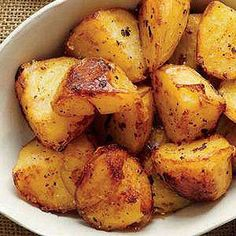 """Rachael Ray French Fry Recipes: Golden Butter Crisped Spuds (""""Personalize these potatoes with different spices and sauces. They're so versatile, you can pair them with any kind of burger! Side Dish Recipes, Veggie Recipes, Great Recipes, Favorite Recipes, Butter Potatoes, Oven Roasted Potatoes, Yukon Potatoes, Yellow Potatoes, Yummy Recipes"""
