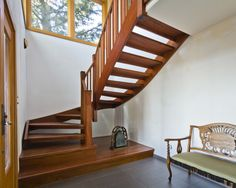 unusual wooden benches | Interior, : E Citing Strong Wooden Stairs With Dressy Retro Bench And ...