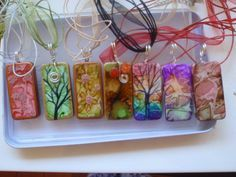 Tile Pendants using alcohol ink made by MaryPoppins