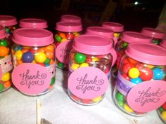 I reused Stage 3 Baby food jars as favors for 1st Birthday.