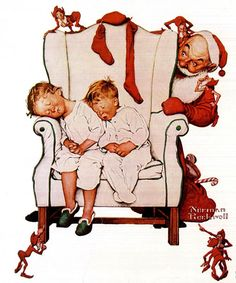 Twas The Night Before Christmas by Norman Rockwell (1894 – 1978, American)